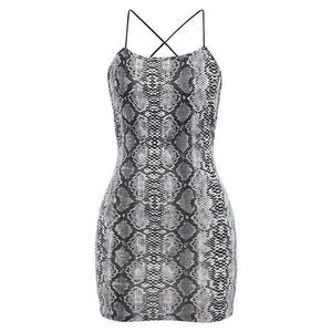 Snake Print Open Back Dress