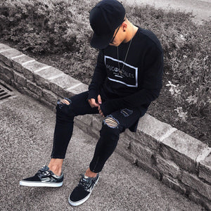 Distressed Skinny Black Denim