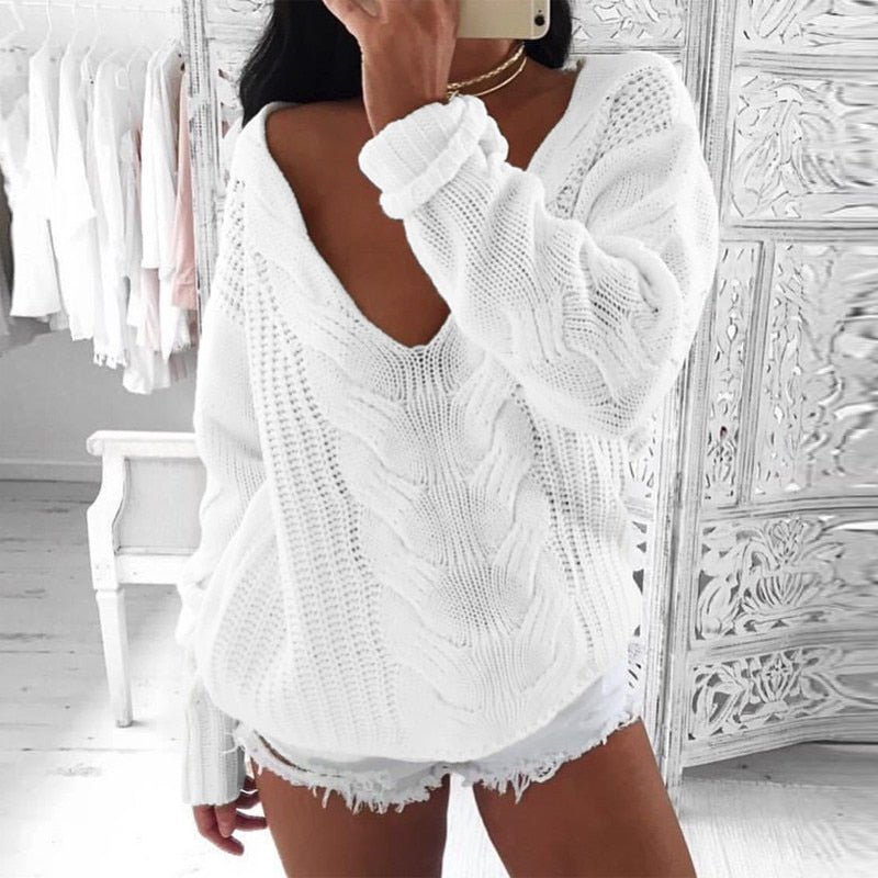 V Neck Long Sleeve Loose Sweater