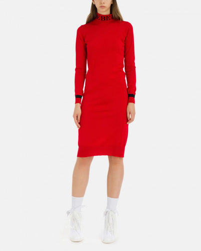 Red wool slim fit Iceberg dress with neck logo