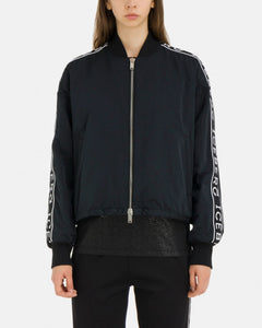 Lightweight black bomber jacket with white contrast Iceberg logo panels