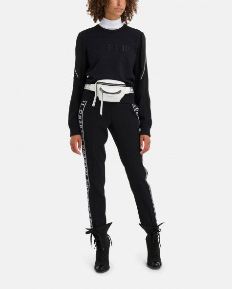 Black regular fit pants with bold Iceberg logo