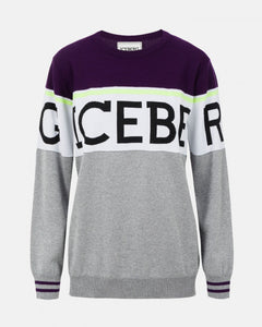 Dark purple and gray sweater with large logo