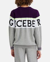 Cargar imagen en el visor de la galería, Dark purple and gray sweater with large logo