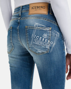 Denim jeans with Iceberg logo in stretch cotton