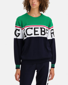 Green and navy blue Iceberg sweater with large logo