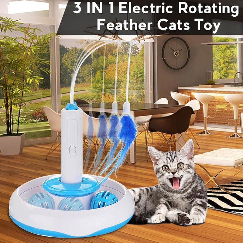 Cat Interactive Toys Electric Rotate Feather Toys