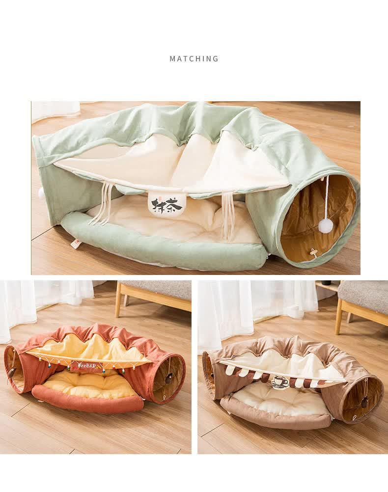 CAT TUNNEL TOY BED