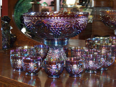 14 Piece Imperial Grape Punch Bowl Set