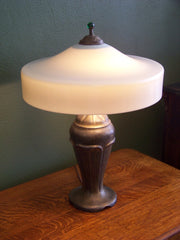Signed White Glass Handel Lamp with Bronzed Base
