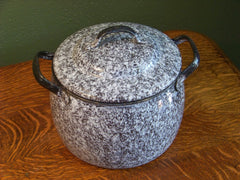 Brown and White Granite Double Handled Pot
