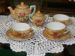 Floral/Brown Lusterware Childs Tea Set