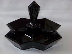 Black Onyx Divided Dish with Handle