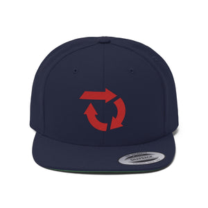 Red Circle Logo Flat Bill Hat