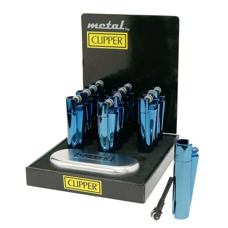 Clipper Full Metal Blue Lighter With Case (12 Count)-Insponaire