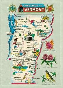 VERMONT VT MAP Poster & Hanging Kit