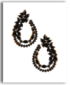 Black Motif Leaf Stud