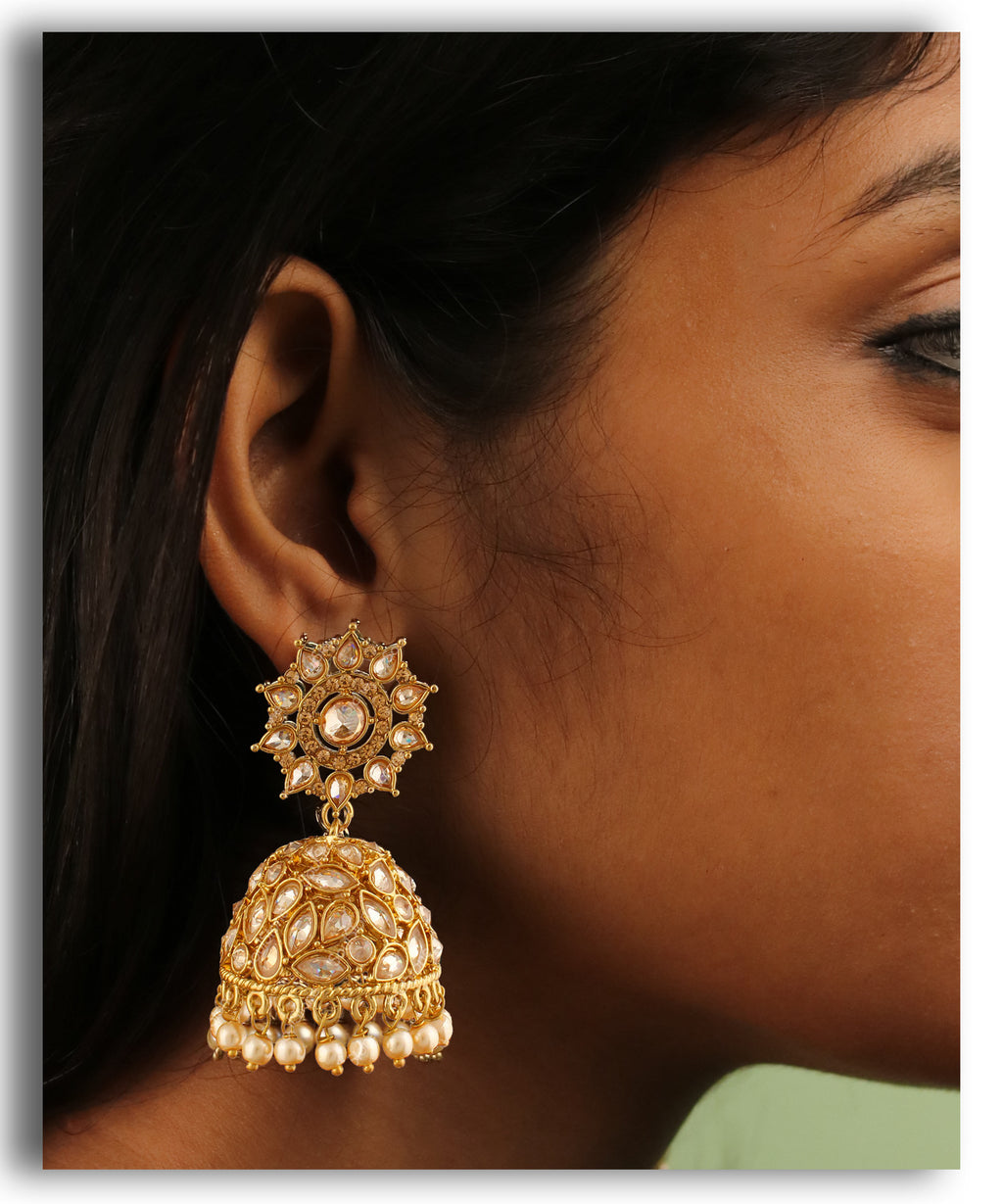 Gold Motif Leaves Jhumka