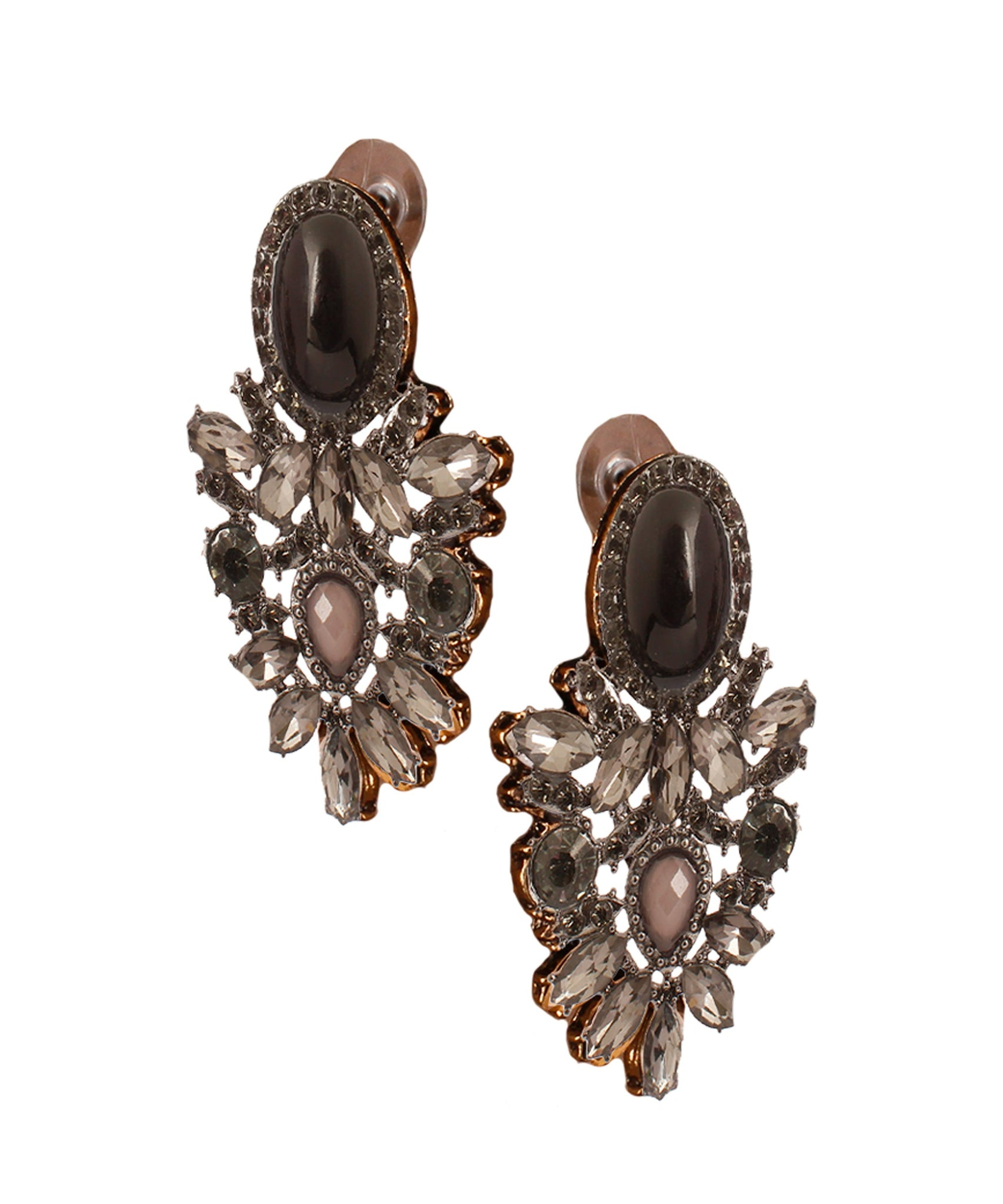 Oval Black Crystal Earring