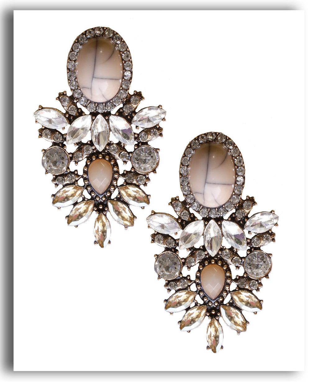 Oval Brown Crystal Earring