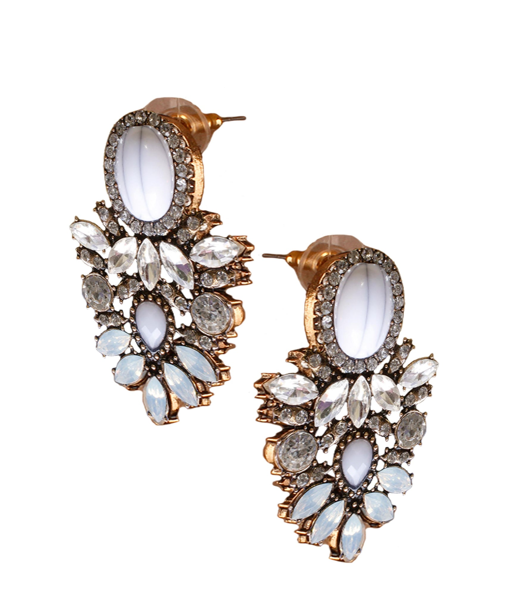 Oval White Crystal Earring