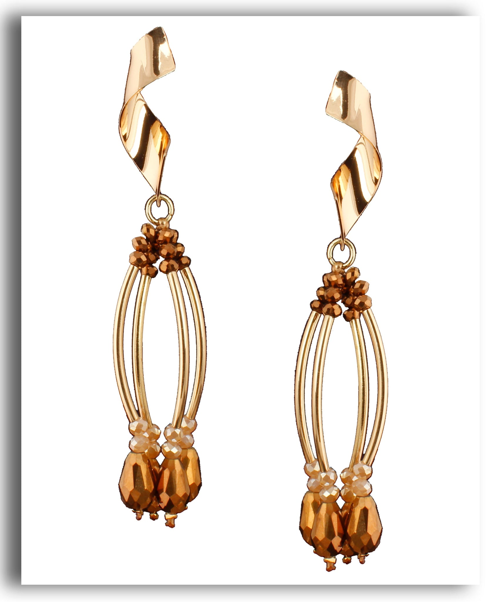Curved Dangle Gold Beaded