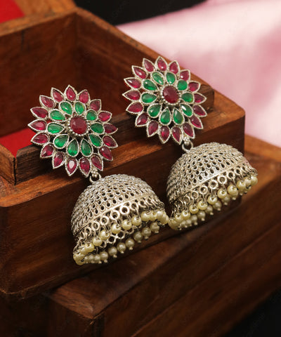 Oxidised Floral Temple Jhumka