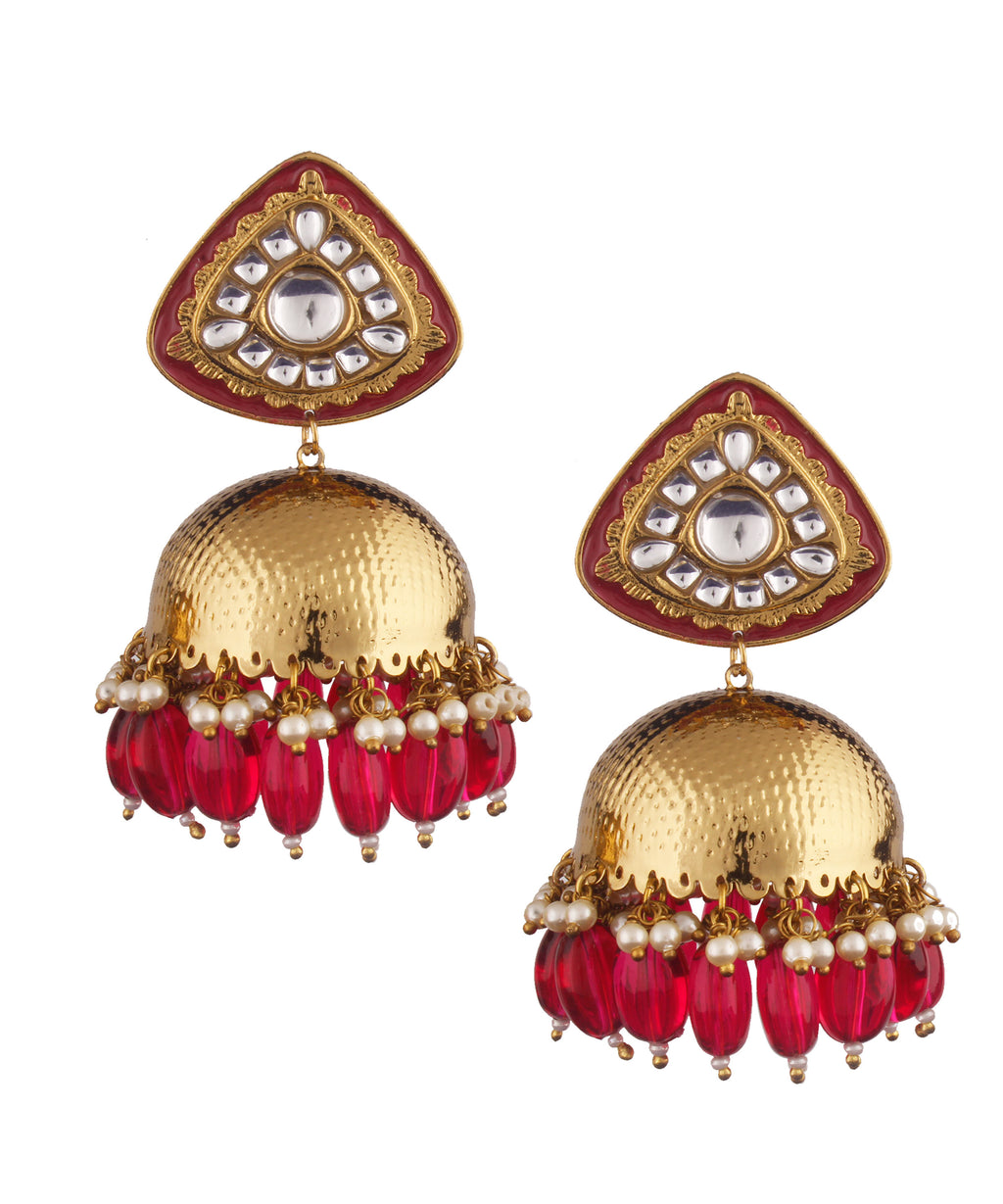 Triangle Red Jhumka