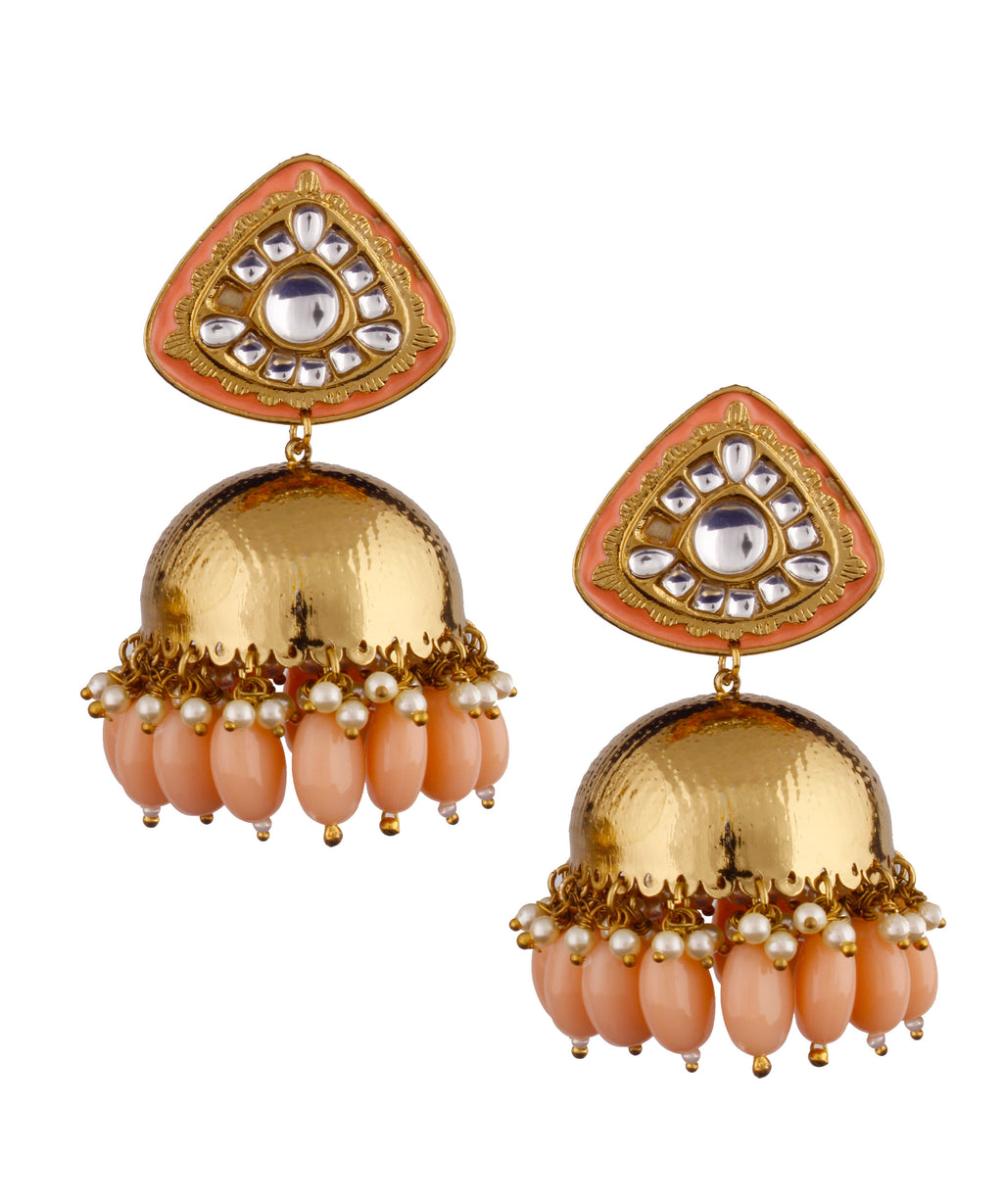 Triangle Peach Jhumka