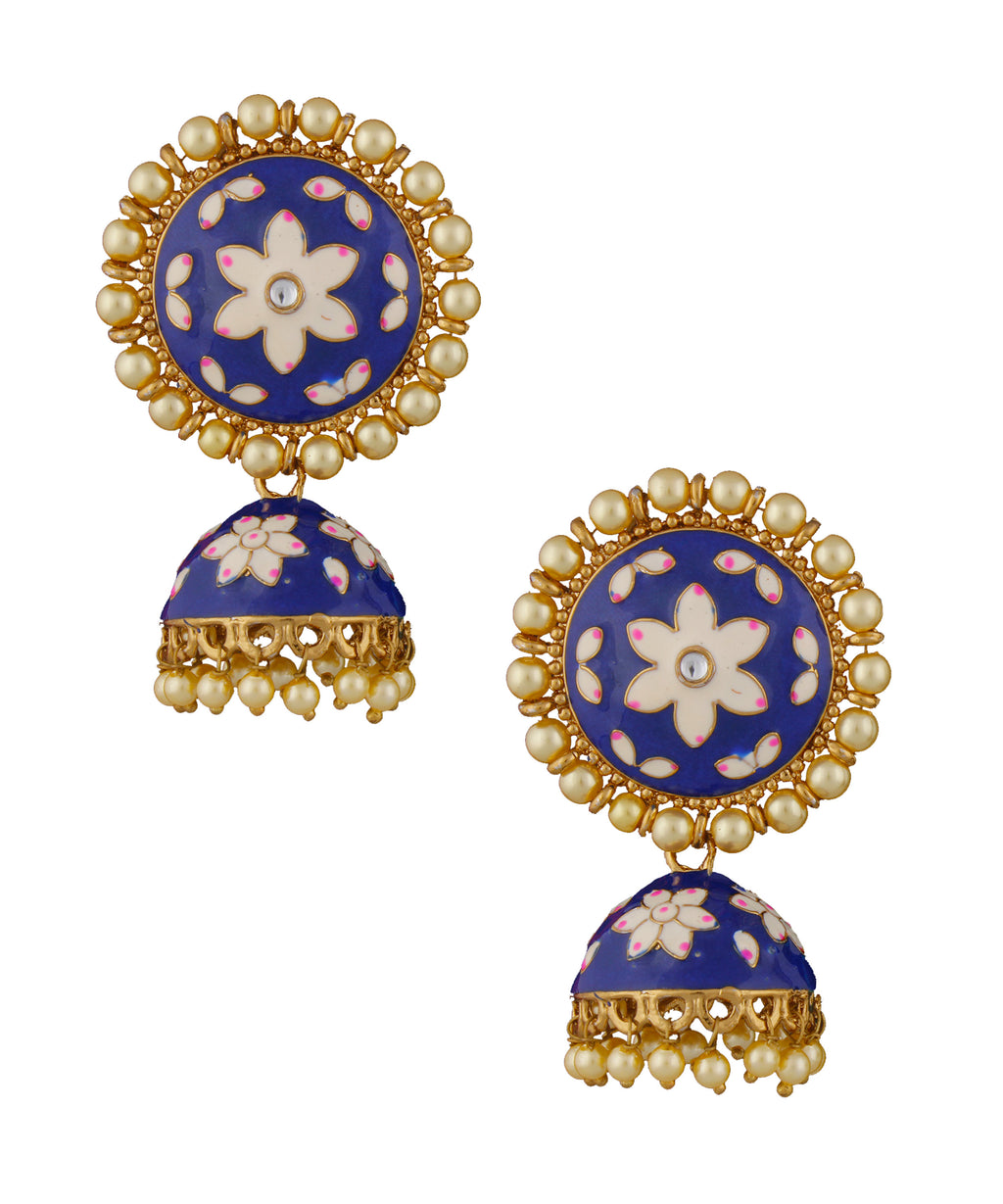 Blue Enamelled Jhumka