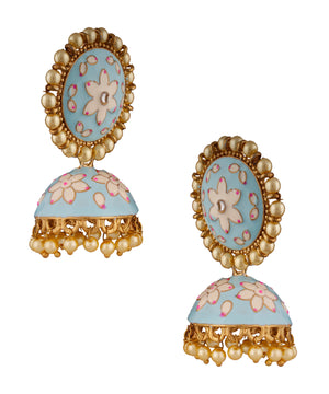 Skyblue Enamelled Jhumka