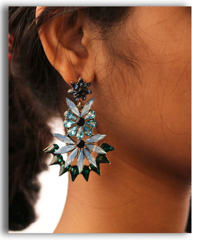Green Spiked Drop Earring