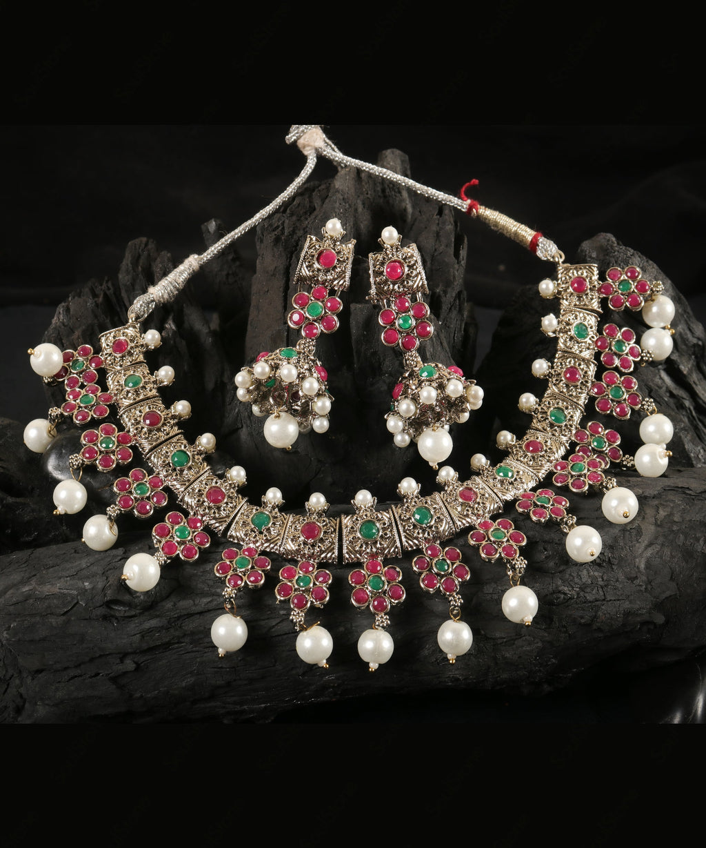 Oxidised Floral Pearl Set