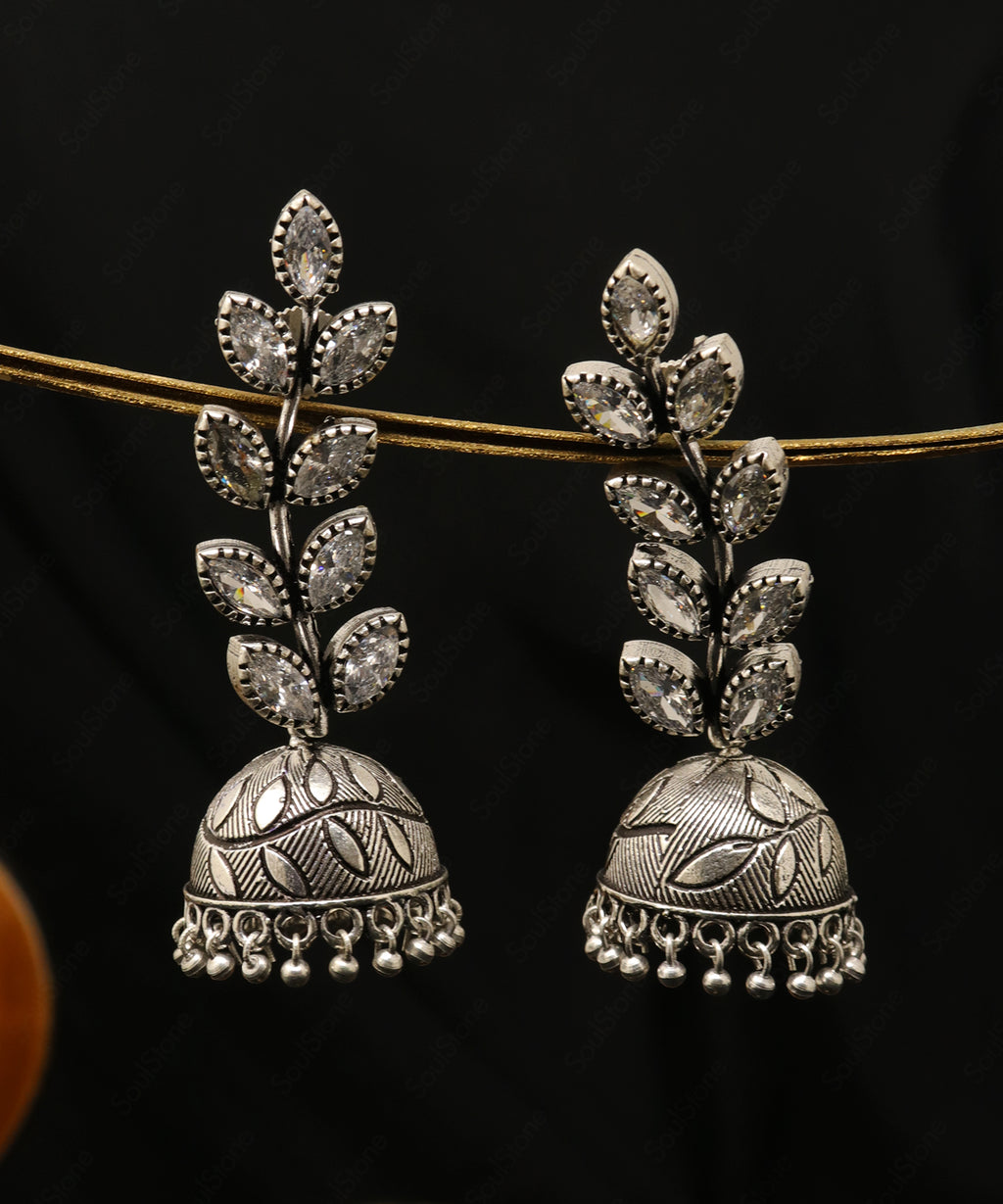 Oxidised Leaves Jhumka