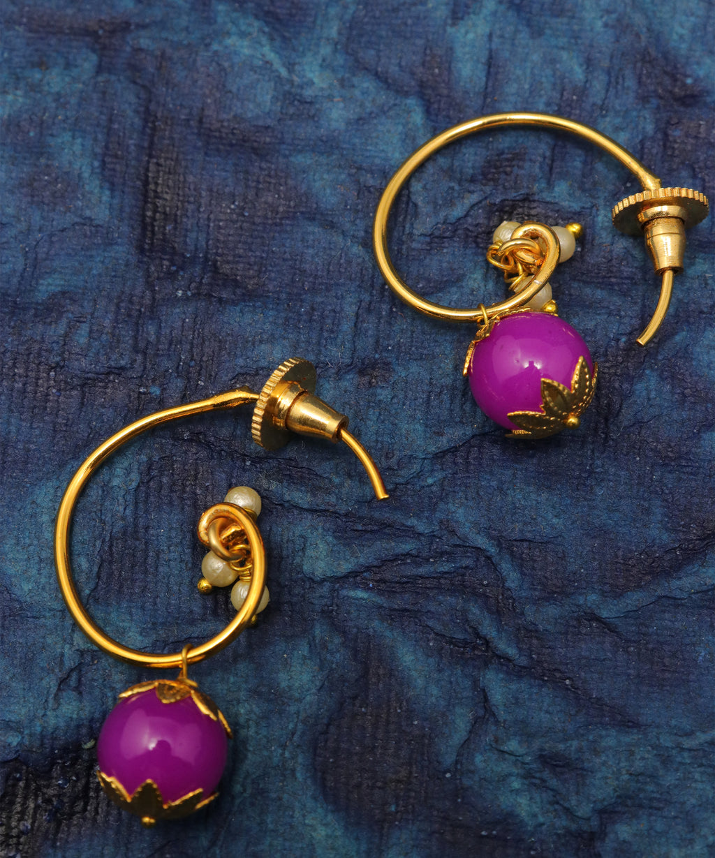 Hoop Beaded Drop Earring
