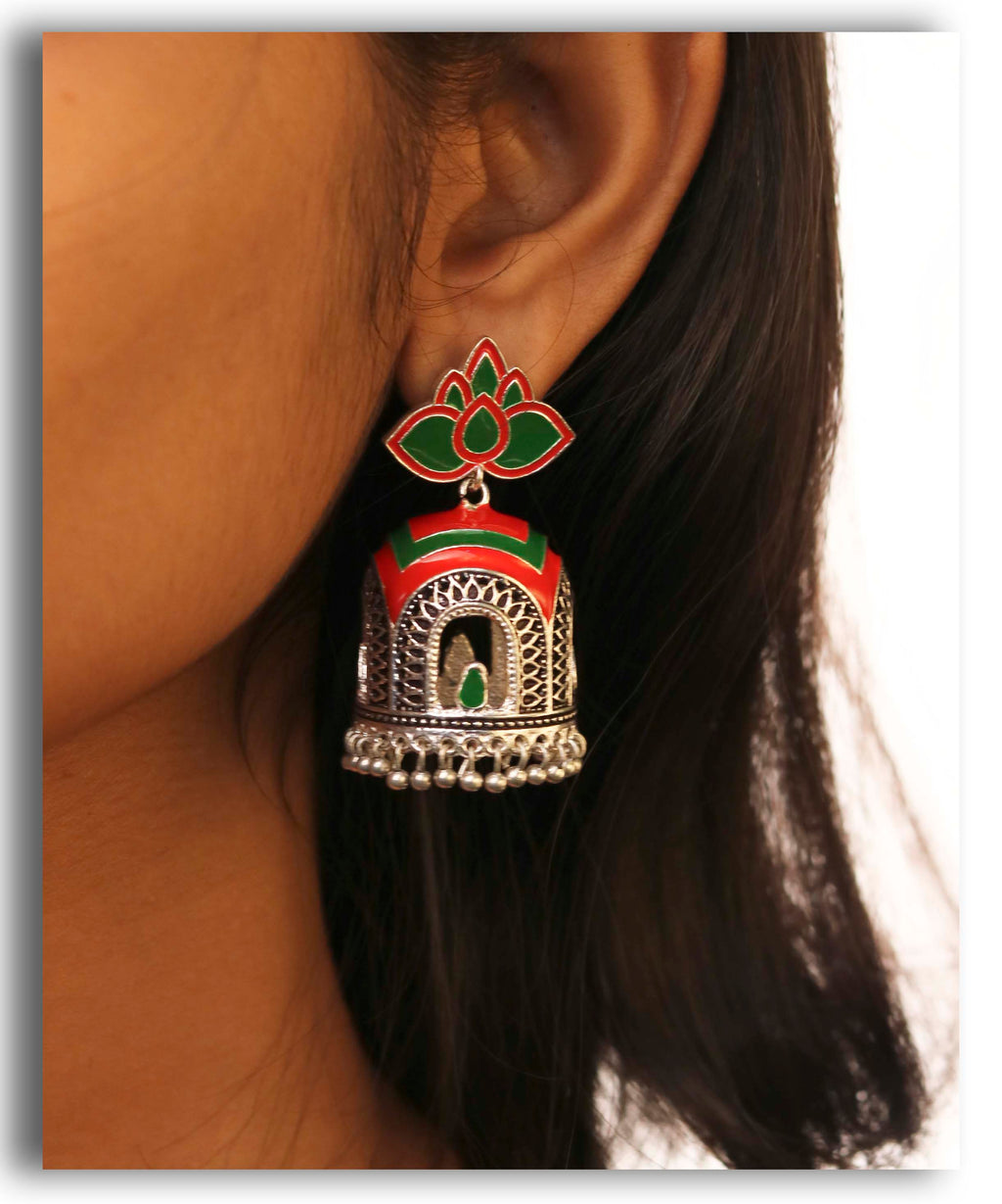 Antique Green Enamel Jhumka