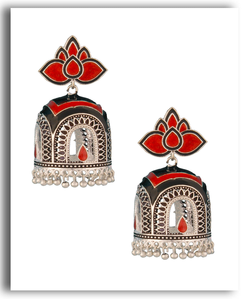 Antique Black Enamel Jhumka