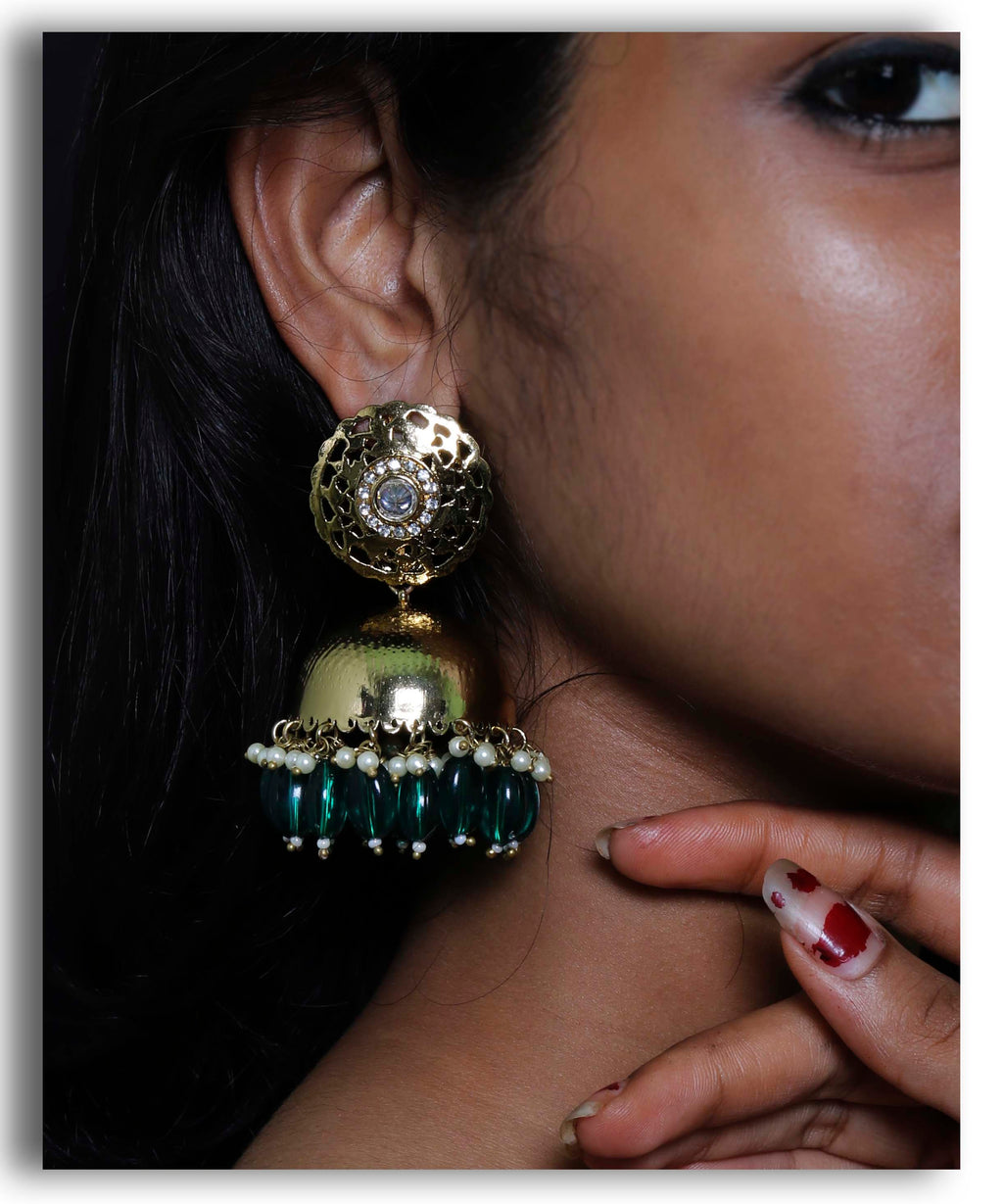 Embossed Green Jhumka