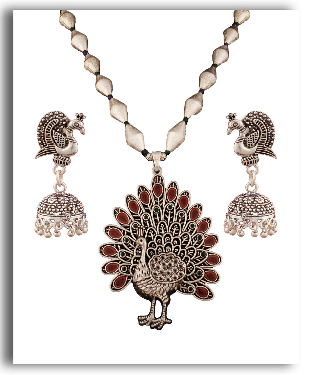 Red Dholki Peacock Necklace
