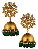 Kundan Green Beaded Jhumka