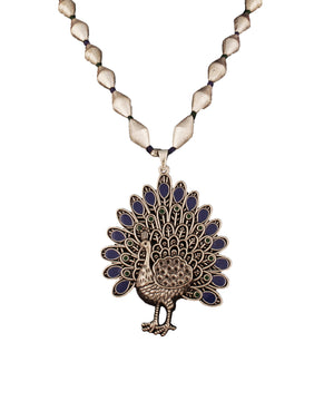Blue Dholki Peacock Necklace