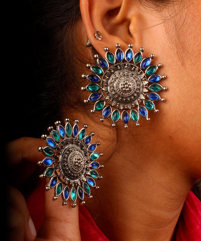 Turquoise Blue Floral Stud