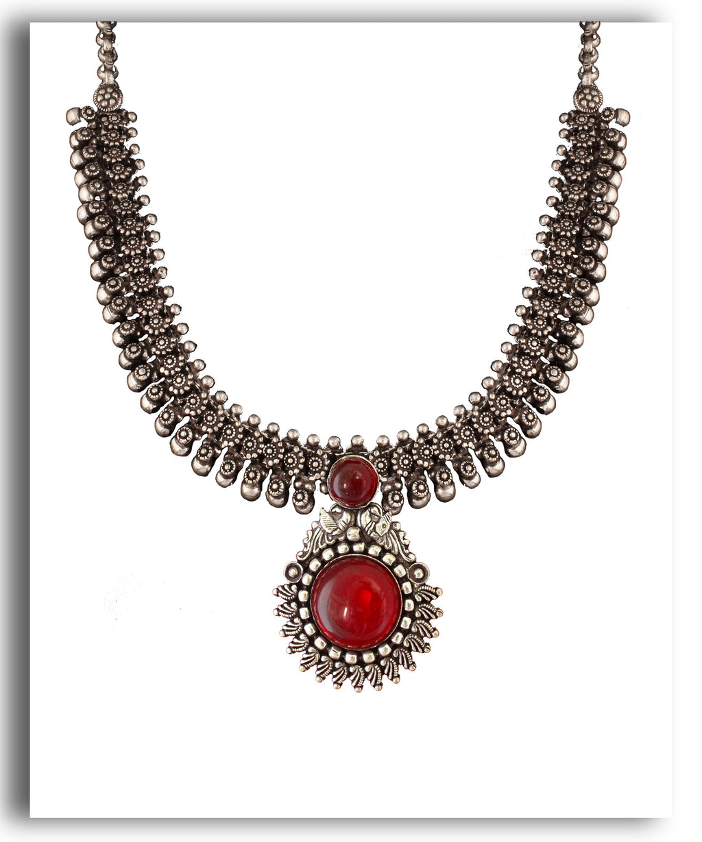 Oxidized Maroon Beaded Set