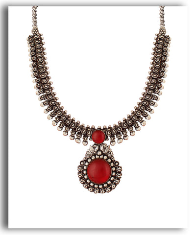 Oxidized Red Beaded Set