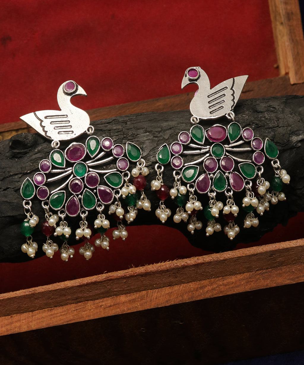 Oxidised Peacock Earring