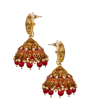Red Cone Green Jhumka