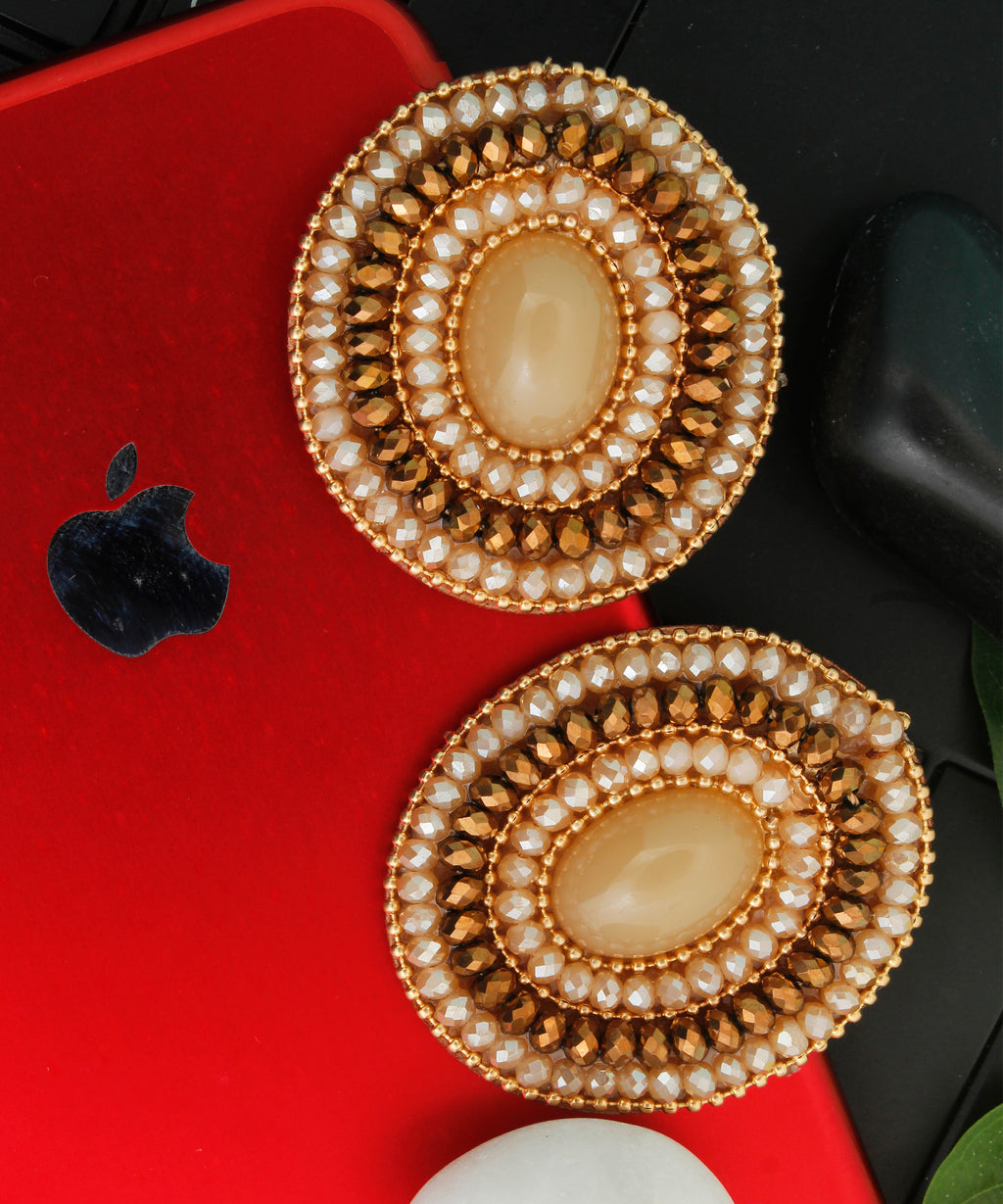Oval Beaded Stud