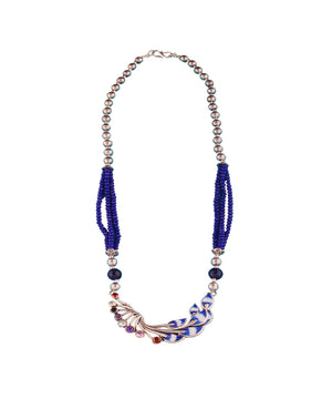 Blue Beaded Princess Necklace