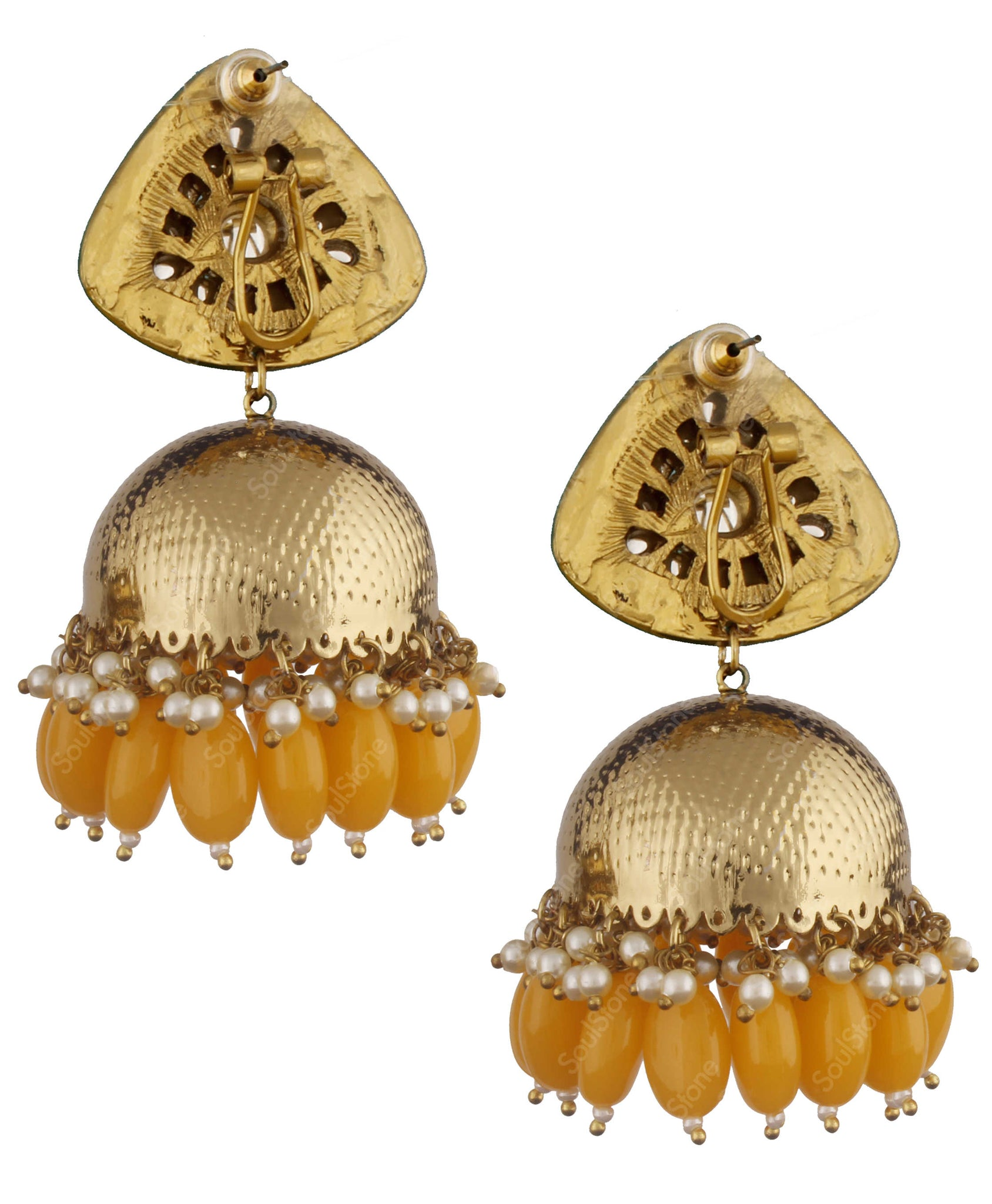 Triangle Yellow Jhumka