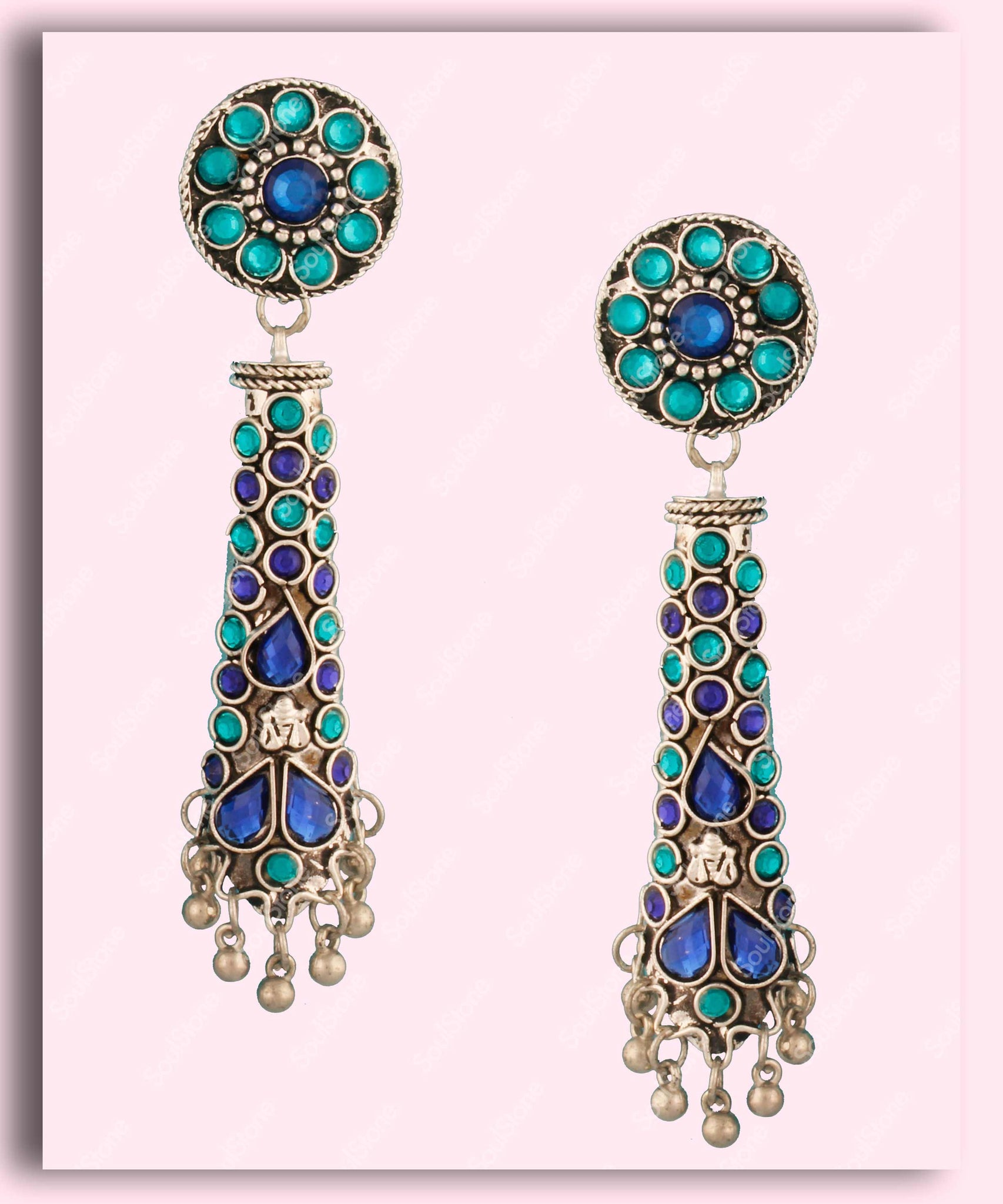 Floral Blue Cone Jhumka